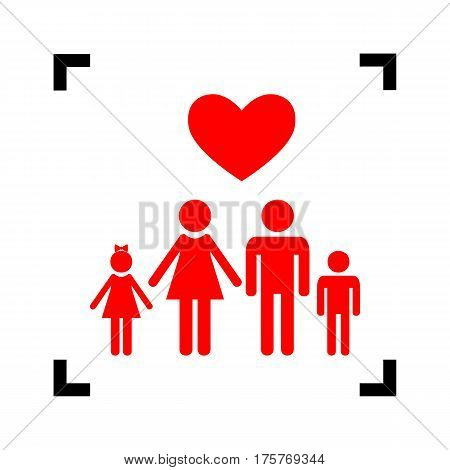 Family symbol with heart. Husband and wife are kept children's hands. Love. Vector. Red icon inside black focus corners on white background. Isolated.