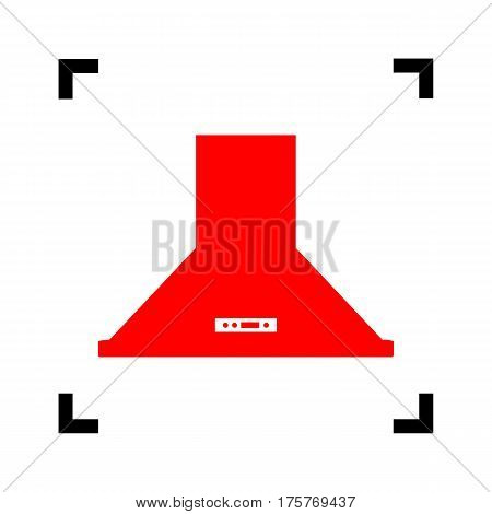 Exhaust hood. Kitchen ventilation sign. Vector. Red icon inside black focus corners on white background. Isolated.