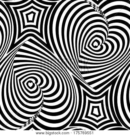 Striped repeating texture with hearts. Abstract vector seamless op art pattern with waving lines. Monochrome  graphic black and white ornament.