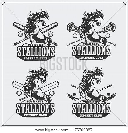 Football, baseball, lacrosse and hockey badges and labels. Sport club emblems with horse.