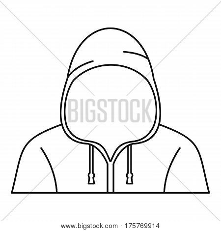 Hooded man icon. Outline illustration of hooded man vector icon for web