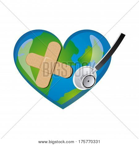 earth planet heart with stethoscope and band aid icon . Vector illustration