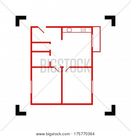 Apartment house floor plans. Vector. Red icon inside black focus corners on white background. Isolated.