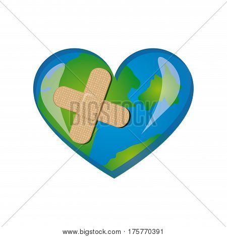 earth planet heart with band aid icon, vector illustraction design