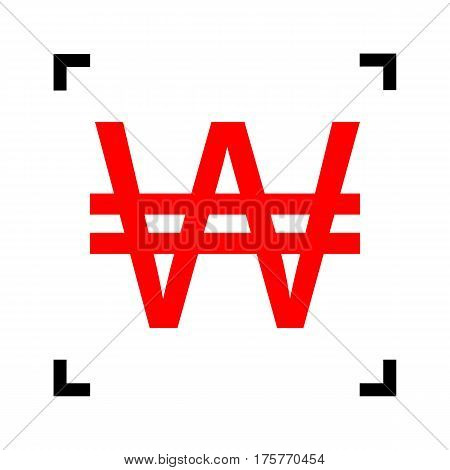 Won sign. Vector. Red icon inside black focus corners on white background. Isolated.
