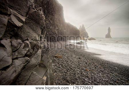 Black sand beach of Reynisfjara in Iceland