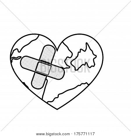 figure earth planet heart with band aid icon, vector illustraction design