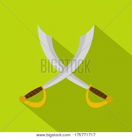 Crossed sabers icon. Flat illustration of crossed sabers vector icon for web