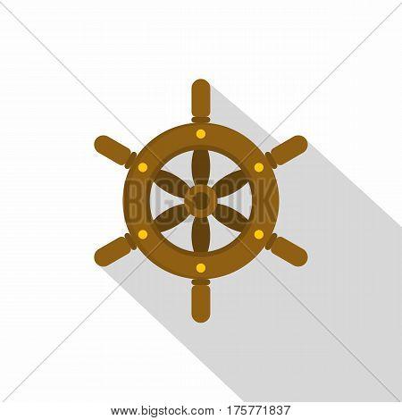 Ship wheel icon. Flat illustration of ship wheel vector icon for web