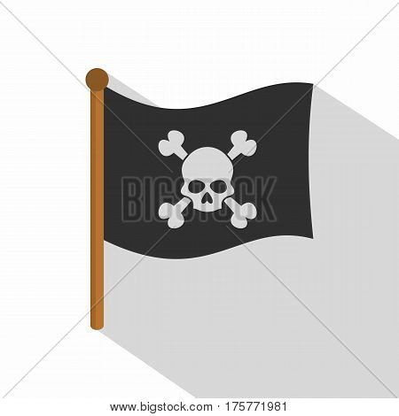 Pirate flag icon. Flat illustration of pirate flag vector icon for web