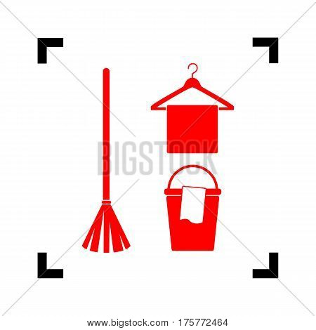 Broom, bucket and hanger sign. Vector. Red icon inside black focus corners on white background. Isolated.