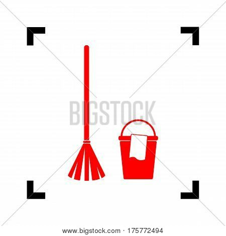 Broom and bucket sign. Vector. Red icon inside black focus corners on white background. Isolated.