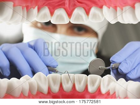 Dental examination concept Inside , mouth view