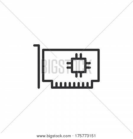 Computer parts hardware line icon outline vector sign linear style pictogram isolated on white. Expansion card symbol logo illustration