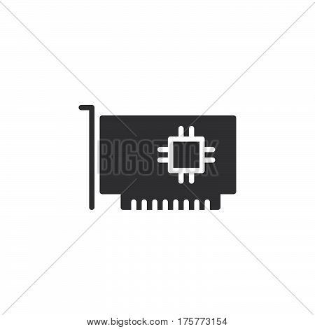 Computer parts hardware icon vector filled flat sign solid pictogram isolated on white. Expansion card symbol logo illustration