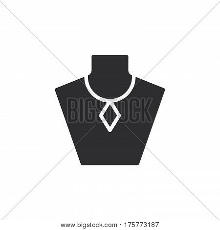 Necklace display bust icon vector filled flat sign solid pictogram isolated on white. Jewelry symbol logo illustration