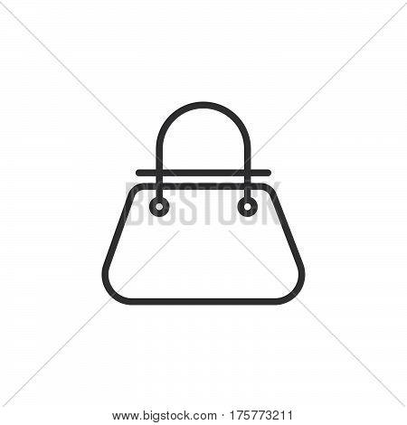 Bag line icon outline vector sign linear style pictogram isolated on white. Womens handbag symbol logo illustration