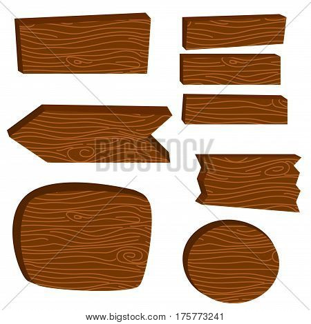 Wooden board planks vector illustration. Cartoon board planks for direction designation and advice notes.