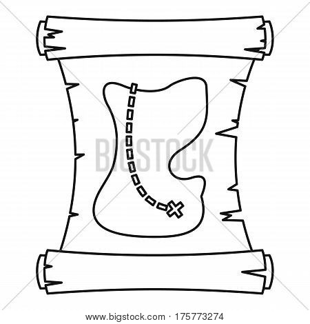 Treasure map icon. Outline illustration of treasure map vector icon for web