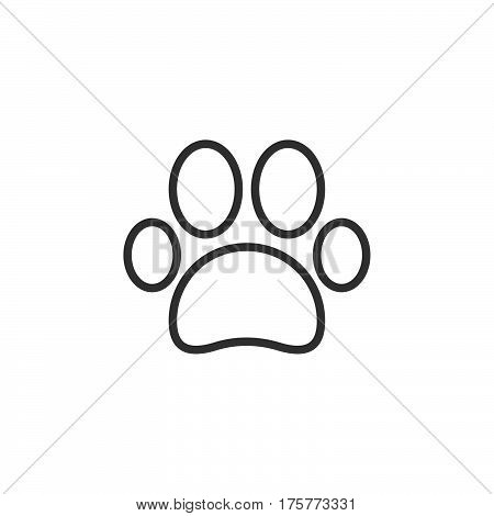 Paw line icon outline vector sign linear style pictogram isolated on white. Pet supplies symbol logo illustration