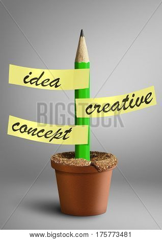 Idea creative concept pencil with stickers as plant