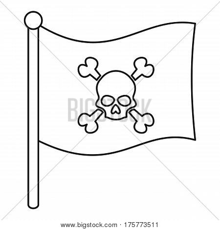 Pirate flag icon. Outline illustration of pirate flag vector icon for web