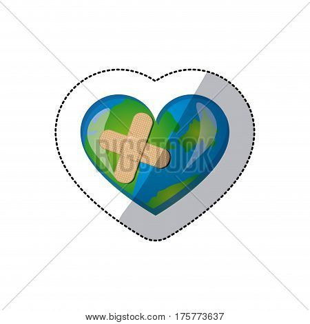 color earth planet heart with band aid icon, vector illustraction design