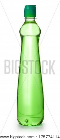 green plastic bottle isolated on white background with clipping path