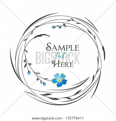 Vector illustrations floral circle with grass and blue flowers