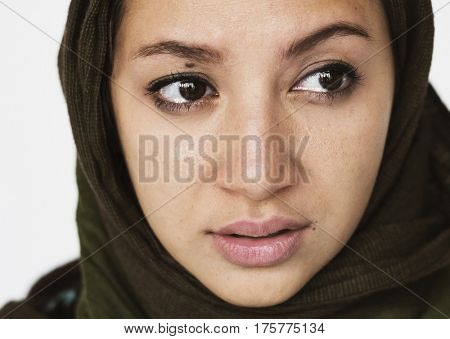 Woman studio shoot with face depression sadness