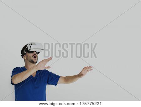 VR Virtual Reality Simulator Equipment Experience Studio Portrait