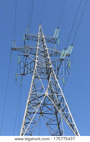 High-voltage Electrical Tower Against The Sky