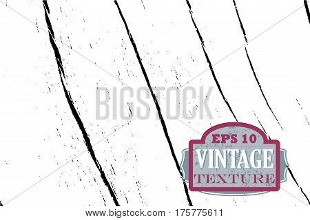 Distressed wood surface vector texture. Monochrome wooden surface. Black and white vector overlay. Obsolete timber background. Vintage effect grit texture. Natural wooden board trace. Lumber surface