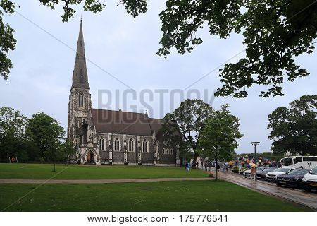 COPENHAGEN, DENMARK - JUNE 29, 2016: The Anglican Church of St. Alban was built in the 19th century for the needs of the British community of the city.