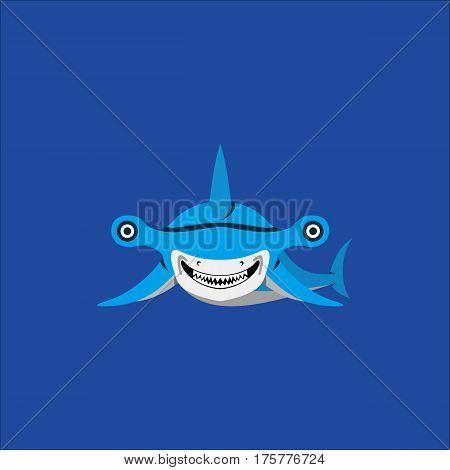 Hammerhead Shark Mascot Vector illustration in flat desidn