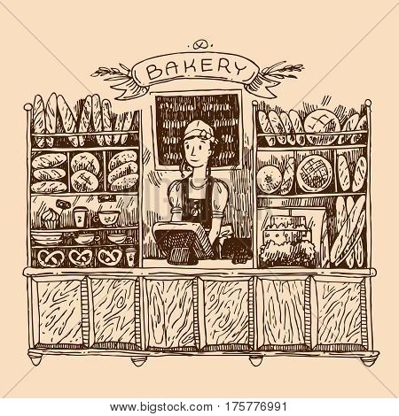 Hand drawn vector sketch interior of bakery shop. Illustration for magazine, newspaper, packaging, advertising, etc.