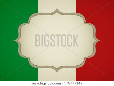 Blank frame on Italy insignia for book cover or background template