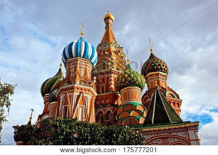 St. Basil's Pokrovsky Cathedral on the red square in Moscow, Russia