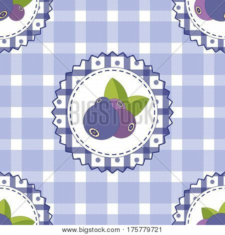 Seamless pattern with blueberry. Bright colors fashion style for prints batik silk textile cushion pillow bandanna kerchief. Rustic style. Texture for clothes bedclothes. Embroidery stylization