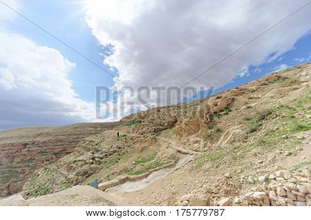 Winter View Of The Hills In The Judean Desert Near Bethlehem. Israel.