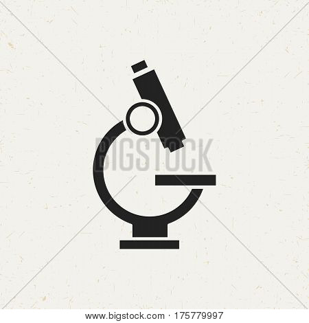 Flat monochrome microscope icon in vintage style. Isolated microscope icon for use in variety of projects. Black and white vector microscope icon for web sites and apps.