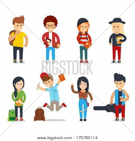 Young students cartoon characters. Happy people vector set. University or college group of young students. Lifestyle young people in street clothes style. Isolated teenager - Vector flat illustration.