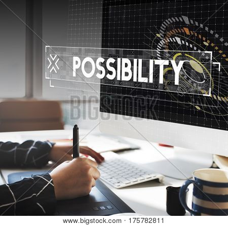 Graphic designer working possibility word graphic design