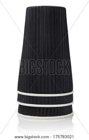 Stack of Disposable Black Coffee Cups on White Background