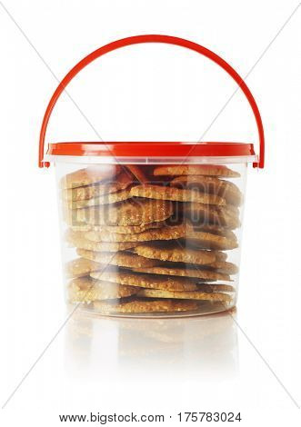 Cookies in Plastic Container with Handle on White Background
