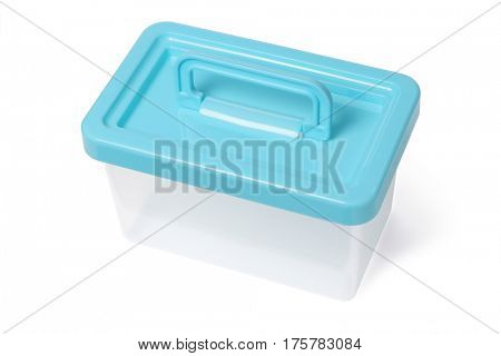 Empty Plastic Container With Handle on White Background