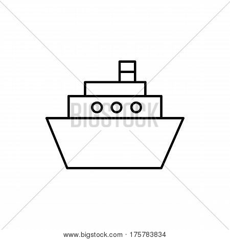 Flat line monochrome ship icon isolated on white background. Minimal ship icon for use in variety of projects. Black and white vector ship icon for web sites and apps.