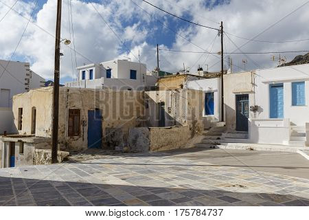 Square and traditional architecture in Chora on Serifos island in Greece.