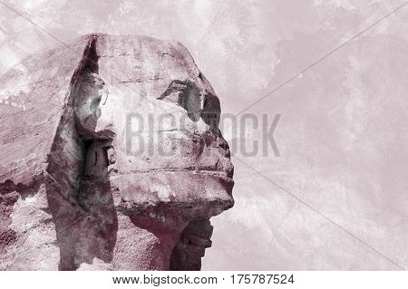 Head Sphinx egyptian background. Profile Sphinx. Grunge Background