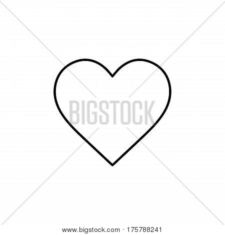 Flat line monochrome heart icon isolated on white background. Minimal heart icon for use in variety of projects. Black and white vector heart icon for web sites and apps.